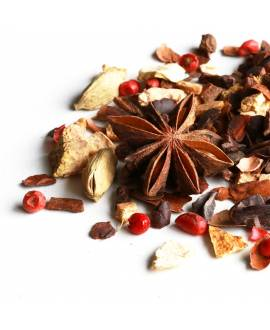 choco chai herbal tea with spices and cocoa beans and shells