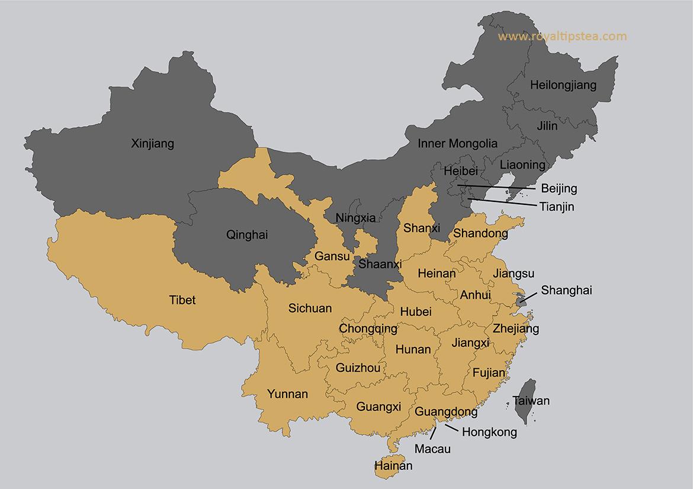 regiones de produccion de diferentes clases de te chino
