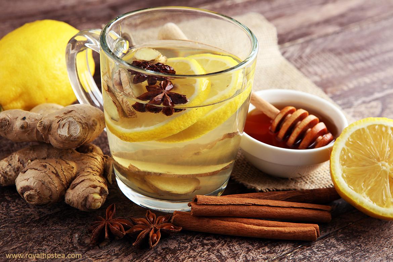 preparacion del te de jengibre, limon y canela